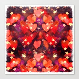 Hearts and stars Valentine bokeh lights sparkle - love heart red glam Canvas Print
