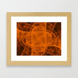Fractal Eternal Rounded Cross in Orange-Brown Framed Art Print