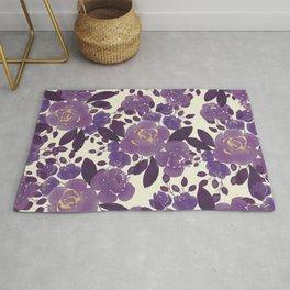 Elegant ivory gold lavender purple watercolor floral  Rug