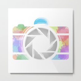 Watercolor Photography camera- Rainbow colored photography lover Metal Print