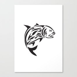 Giant Trevally Jumping Tribal Art Canvas Print