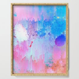 Abstract Candy Glitch - Pink, Blue and Ultra violet #abstractart #glitch Serving Tray