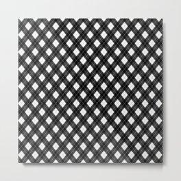 Black White and Gray Argyle Plaid Pattern Metal Print