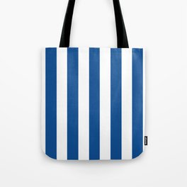 Yale Blue - solid color - white vertical lines pattern Tote Bag
