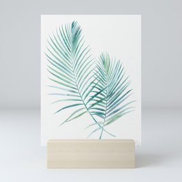 Twin Palm Fronds - Teal Mini Art Print