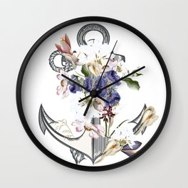 Anchor sea vacation. Floral design Wall Clock