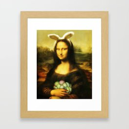Easter Mona Lisa with Bunny Ears and Colored Eggs Framed Art Print