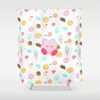 kirby Shower Curtains featuring Kirby & Sweets by poripori