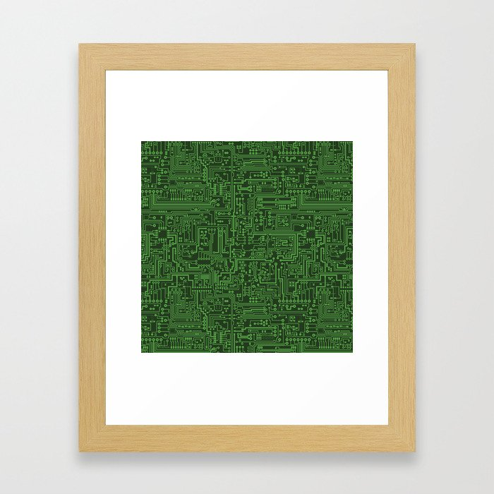 Circuit Board // Light on Dark Green Framed Art Print