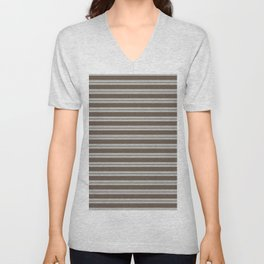 BM Mustang Brown & Color of the Year 2019 Metropolitan Light Gray Double Bold Horizontal Stripes Unisex V-Neck