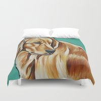 golden retriever Duvet Covers featuring Golden Retriever Painting by Cheney Beshara