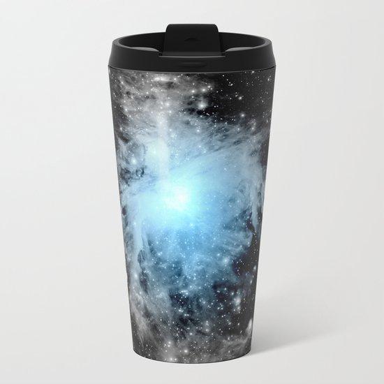 Orion nebULa Black White Blue Space Metal Travel Mug