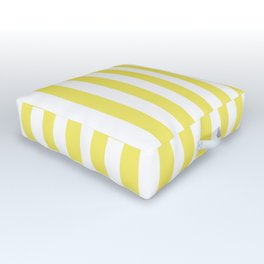 Yellow Small Even Stripes Outdoor Floor Cushion