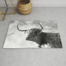 Highland Cow Black and White Profile Sky Rug