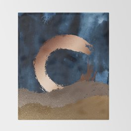 Navy Blue, Gold And Copper Abstract Art Throw Blanket