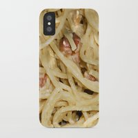 pasta iPhone & iPod Cases featuring Carbonara Pasta by Anand Brai