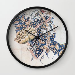 Design for Windrush by William Morris 1883 // Romanticism Blue Red Yellow Color Filled Floral Design Wall Clock