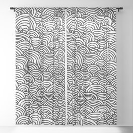Black and white circular pattern Sheer Curtain