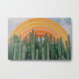 Cactus and Rainbow Metal Print
