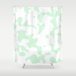 Large Spots - White and Pastel Green Shower Curtain