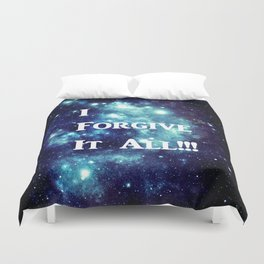 Turquoise Teal Galaxy : I Forgive It All Duvet Cover
