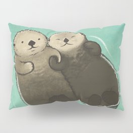 Significant Otters - Otters Holding Hands Pillow Sham