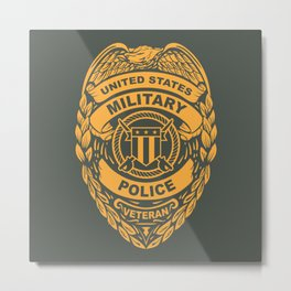 U.S. Military Police Veteran Security Force Badge, Gold Metal Print