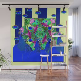 BLUE PEACOCKS & MORNING GLORIES PARALLEL YELLOW PATTERNED ART Wall Mural
