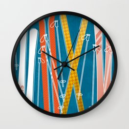 Colorful Ski Pattern Wall Clock