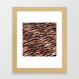 Rose Gold Metallic Stylish Tiger Fur Stripes Print Framed Art Print