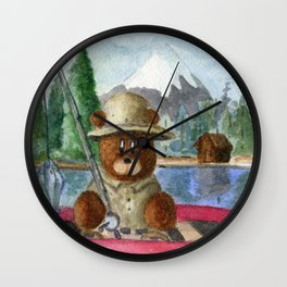 Fisherman Bear Wall Clock