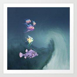 Tropical Fish and Wave Art Print