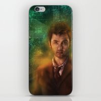 david tennant iPhone & iPod Skins featuring 10th Doctor David Tennant by SachsIllustration