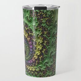 Spiraling Swirling Elegant Amazing Feather Psychedelic Fractal Art Green Purple Colorful Beautiful Travel Mug