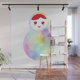 Russian doll matryoshka with bright rhombus on white background, rainbow pastel colors Wall Mural