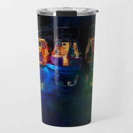 Boat Flotilla at Night at Octopus Island Travel Mug