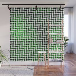 Houndstooth Green and Black Toned Pattern Wall Mural