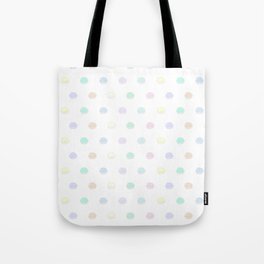Macaron Polka Dots in White Multi Pastel Tote Bag
