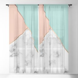 Marble Geometry 056 Sheer Curtain