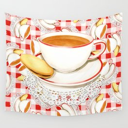 Cup of Tea, a Biscuit and Red Gingham Wall Tapestry