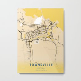 Townsville Yellow City Map Metal Print
