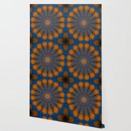 Vibrant Orange blue mandala Wallpaper