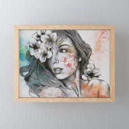 Mascara (expressive female portrait with freesias) Framed Mini Art Print