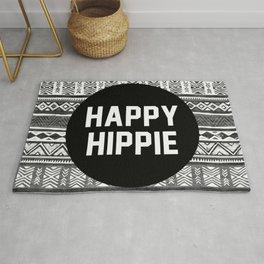 Happy hippie - b&w Rug