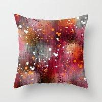 splatter Throw Pillows featuring Splatter by KRArtwork