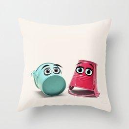 Chatting Buckets Throw Pillow
