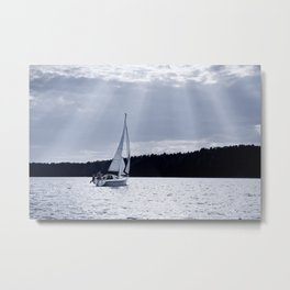 Blue melancholy lake view Metal Print