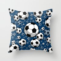 soccer Throw Pillows featuring Soccer by joanfriends