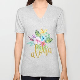 Hawaiian multicolored floral bouquet with faux gold aloha brush script Unisex V-Neck