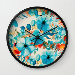 Coral Blooms Wall Clock